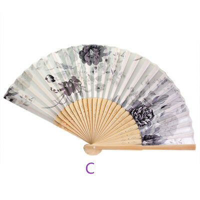 Vintage Bamboo Folding Hand Held Flower Fan Chinese Dance Party Pocket Beauty