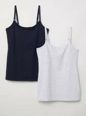 H&M Nursing Breastfeeding Cotton Vest Tops Black And White Size Medium BNWT