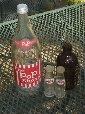 Vintage The Pop Shoppe 32 oz. Glass Bottle + Mug Root Beer & Pepsi Salt & Pepper