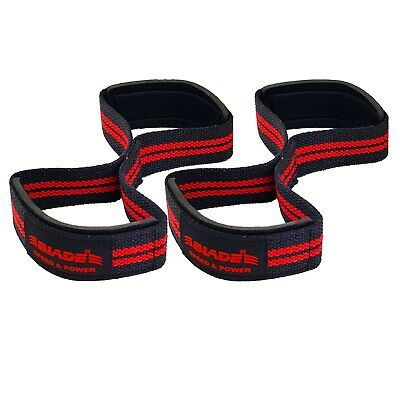 Figure eight 8 Padded Cuff Weight Lifting Wrist Straps Gym Deadlift Double Loop