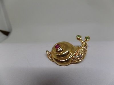 SWAROVSKI Signed with Swan Crystal Snail Pin!