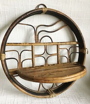 vintage 70s round rattan bamboo Abstract Pattern wall Hinged shelf boho Tiki