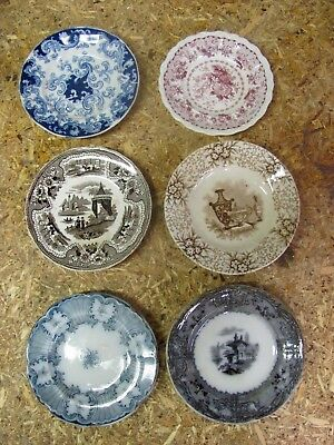 Six Staffordshire Transferware Cup Plates All Different