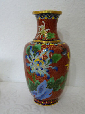 Vase Cloisonne, Messing emailliert