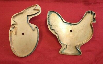 Pair Martha Stewart Copper Cookie Cutters Large Hatching Bunny & Barnyard Hen