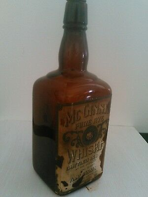 Antique McGinnis Rye Whiskey Bottle Pre-Prohibition w/Orig. Stopper No Reserve