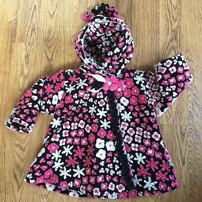 CORKY AND & COMPANY GIRLS 2T FLORAL COAT Zipper Hood Fall Winter Toddlers #5382