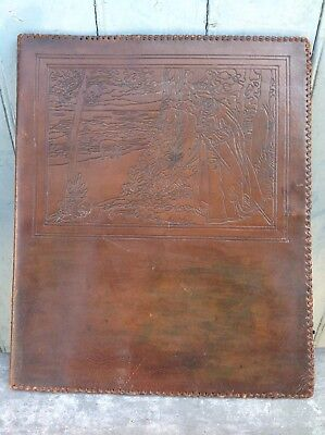 Liberty Arts & Crafts Tooled Leather Document Case, Embossed Medieval Scene