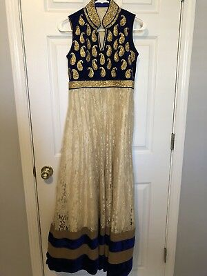 Gold Indian Dress Bollywood Anarkali Lengha Bridal Pakistani