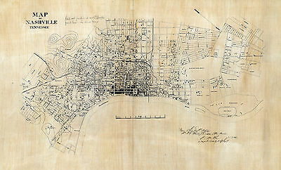 1860 Nashville Civil War Map Military Battle Tennessee Wall Art Poster History