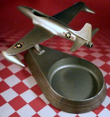 Vintage P-80 Fighter Jet Desktop Airplane Model Ashtray by Allyn Sales Co.