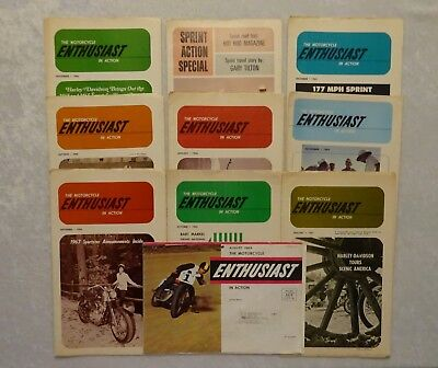 Vtg 1963-1967 Motorcycle Biker Magazines Enthusiast In Action Harley Lot of 10