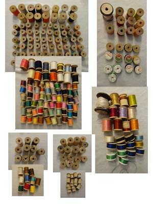 Vtg Wood Spools All Corticelli Clarks Imprinted Mfg Name Cotton Silk Lot of 124