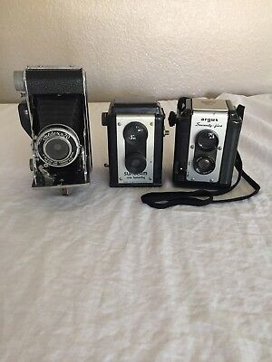 Three Vintage Cameras, Argus Lumar 75MM, Foldex 20 86MM, Sunbeam Six Twenty