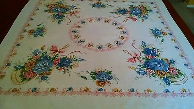 "Vintage Cotton ROSE/ROSE Flowerbasket-Bow Print Tablecloth-Pink-Blue-34"" x 33"""