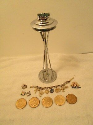 Vintage Seattle Space Needle Worlds Fair Lighter And Braclet And Coins