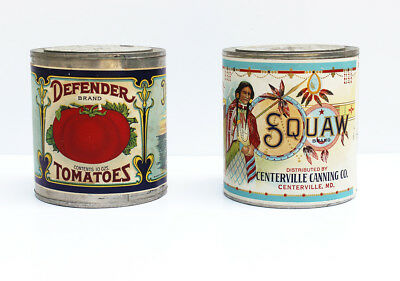 Vintage Vegetable Cans, Squaw and Defender, Excellent Condition