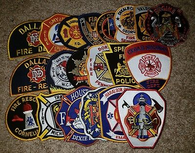 Lot of 20 Different Fire Dept Patches L@@K # 3