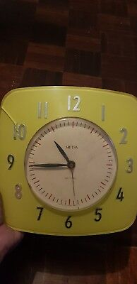 Smiths 1960's Sectric vintage retro electric kitchen wall clock yellow and white