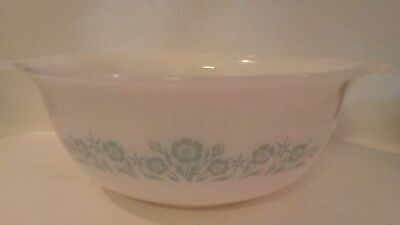 """Vintage Glasbake Maid of Honor Turquoise Cornflower Floral Mixing Bowl 9"""" J-2356"""