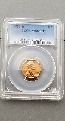 1959-D 1C Pcgs Lincoln Cent Ms66 Rd