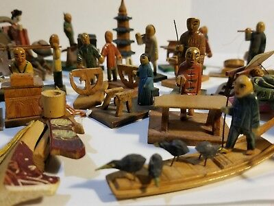 Vintage 1949 Miniature Wooden Chinese Figurines Marked Guam