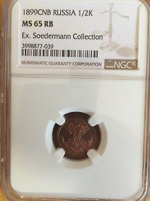 Beautiful Russian 1/2 1899Cnb,ngc Ms65Rb, Ex.soedermann Collection,color On Fire