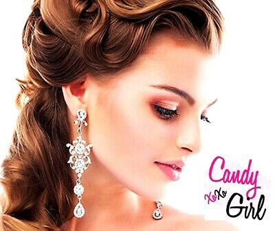 Luxury Silver Crystal Diamante Long Drop Rhinestone Bridal Evening Earrings