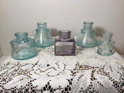Vintage Lot Of 5 Colorful Inkwells Blown In Mold Pre-1900