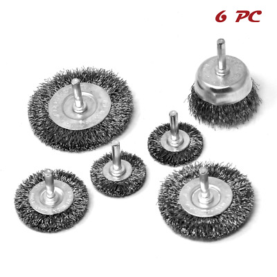 "Crimped Wire Wheel Cup Brush Set 1/4"" 6 pcs for DeWalt Makita & SKIL Power Drill"