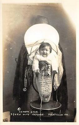 RPPC Squaw with Papoose Pocatello, Idaho Native American Indians Postcard c1930s