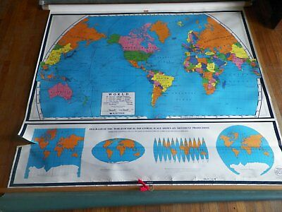 Vintage Nystrom Pull Down Colored Map of World on Roller School Classroom
