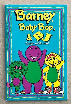 BARNEY THE PURPLE Dinosaur Baby Bop & BJ Color With Me Coloring Book ...