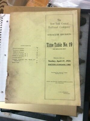 Vintage 1924 New York Central Railroad employee timetable