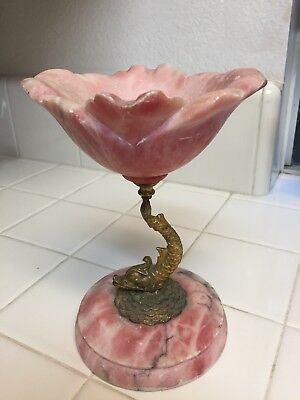 Stunning Art Deco Pink Marble Dolphin Dish
