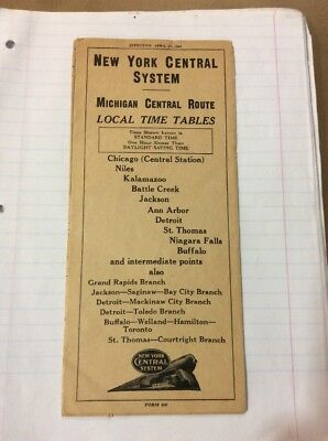 Vintage New York Central Time Table 1947 Michigan Central Route