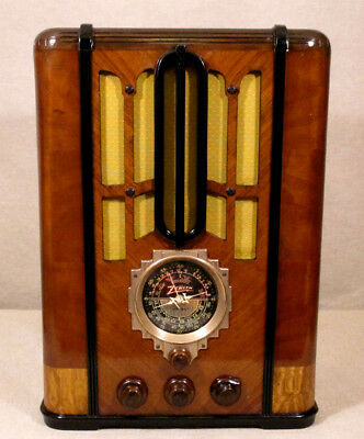 Old Antique Wood Zenith Vintage Tube Radio Restored Working Black Dial Tombstone