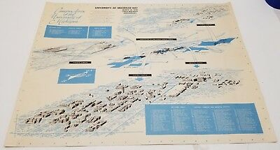 1956 Campus Areas of the University of Michigan Map Poster, 139th Anniversary