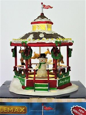 ✔️ LEMAX Village Animated CHRISTMAS CAROUSEL Lights Up Table Accent snowman