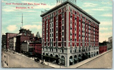 "Rochester, New York Postcard ""HOTEL ROCHESTER & Main Street West"" c1910s"