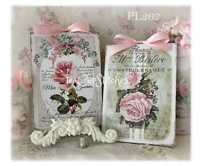 Vintage Pink Roses~2 SIGNS~PLAQUES~Shabby Cottage Chic Wall Decor~French~Set~261