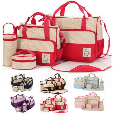 Baby Changing Diaper Nappy Multifunctional Bag Mummy Mother Handbag 5 pcs/set