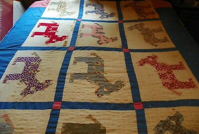 "RARE! Vintage quilt top Donkey's, postage stamp size blocks 77"" x 90"", feed sack"
