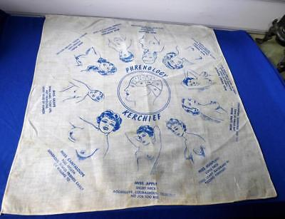 Vintage Novelty Hankie Name's Given To Shape Woman's Breasts Phrenology Kerchief