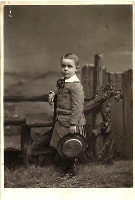 1800s Antique Cabinet photo of darling boy with skirt