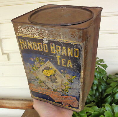 VERY RARE 'HINDOO BRAND' 5-6lb TEA TIN from ROBERT COOPER of MELBOURNE. Wilsons