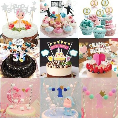 Multi-color Cupcake Cake Topper Happy Birthday Cake Flags For Party Decoration