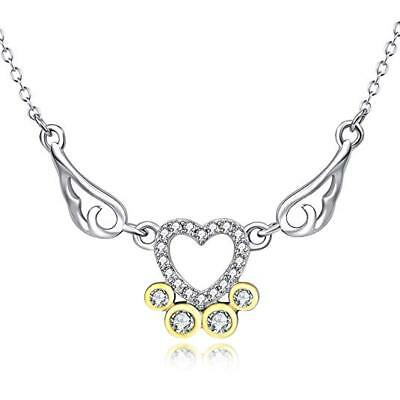 """Holy Guardian Angel Wing Heart 925 Sterling Silver Women Pendant Necklace 18"""""""