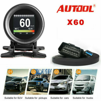 AUTOOL X60 OBD Function 12V Car Digital Turbo Boost Speed Water-Temp Gauge DE