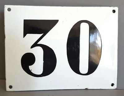 LARGE ANTIQUE FRENCH ENAMEL METAL DOOR HOUSE GATE NUMBER SIGN Black & white 30
